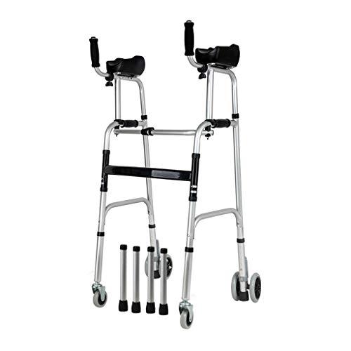 Estándares y Ligeros Andador Plegable Regulable en Altura   Caminante para Ancianos con 4 Ruedas   Rollator de Aluminio Ligero