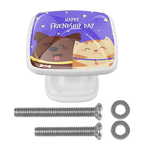 Perillas de cajón para el día de la amistad, con tornillos, armario de baño, aparador y armario