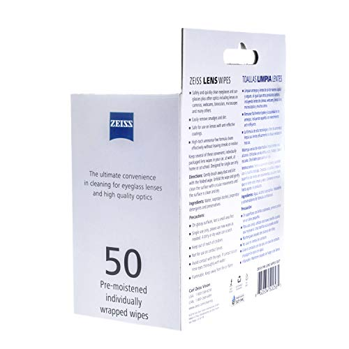 Zeiss Pre-Moistened Lens Cleaning Wipes - Cleans Bacteria, Germs and Without Streaks for Eyeglasses and Sunglasses - (50 Count)