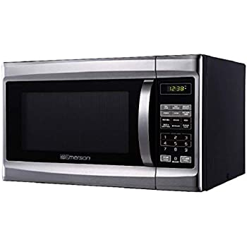 Emerson 1.3 CU. FT. 1000 Watt, Touch Control, Stainless Steel Front, Black Cabinet Microwave Oven, MW1338SB