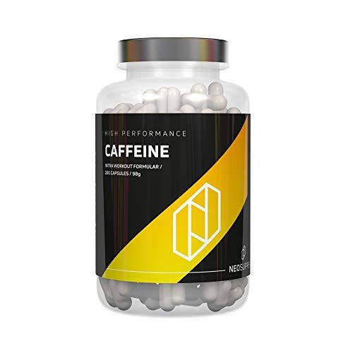 Neosupps Koffeinkapseln 200 Kapseln | Leicht zu schlucken | Optimal dosiertes reines Koffein | Verbesserte Durchblutung | Wirkt Müdigkeit entgegen | Mehr Fokus und Konzentration