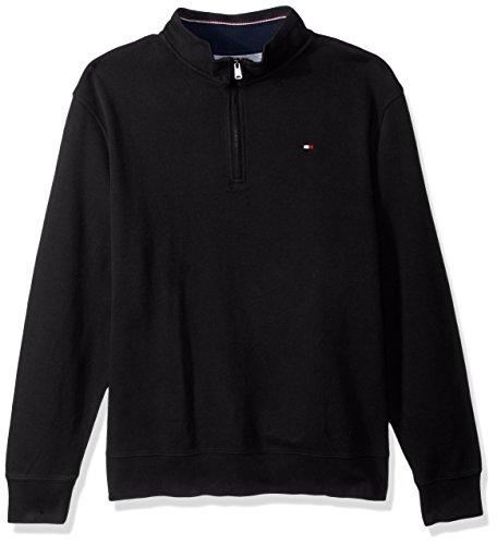 Tommy Hilfiger Men's Big Big & Tall Mock Quarter Zip Sweater, Black, L Tall