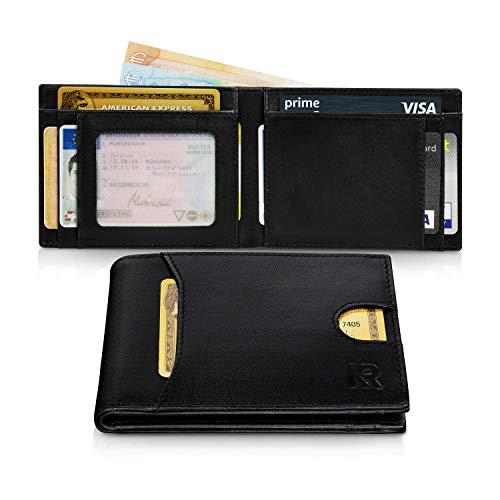 KRONIFY Portemonnee Heren Eros rundleren portemonnee met RFID-bescherming TÜV getest en perfect als cadeau portemonnee heren met YKK rits portemonnee heren Lederen portemonnee Slank portemonnee
