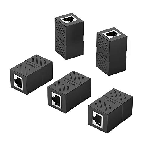 UGREEN Adaptador RJ45 Hembra a Hembra, Conector RJ45 Hembra a Hembra Acoplador RJ45 para Gigabit Ethernet 1000Mbps Cable de Red Cat 7 Cat 6 Cat 5, 5 Unidades (Negro)
