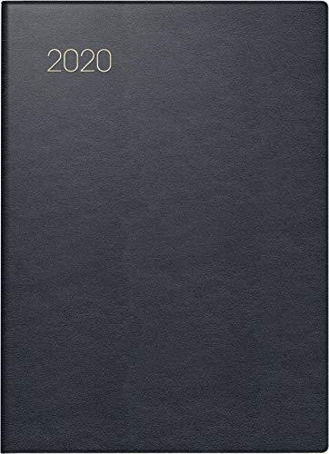 BRUNNEN 1073153 Taschenkalender Modell 731 53 (2 Seiten = 1 Woche, 10 x 14 cm, Leder-Einband, Kalendarium 2020) schwarz