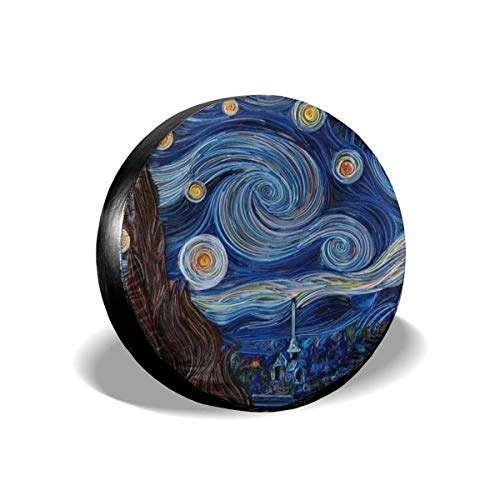 GERERIC Cubierta para Rueda De Repuesto,Van Gogh,Funda para Rueda De Repuesto Universal Cubierta del Neumático Prueba De Polvo Fundas para Llantas para RV SUV Auto 60-69cm