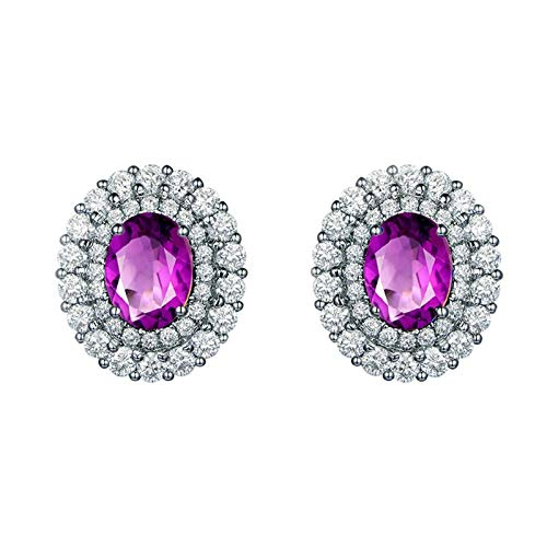 Bishilin Pendientes de Plata S925 para Mujer Her Aretes Anillos de Mujer Ajuste Cómodo Forma Oval Púrpura Oval Cristal Piedra Natal de Febrero Pendientes de Banda Compromiso Boda Plata