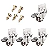 Geovne Casters 4 Piece Set,Swivel Caster Wheels,Furniture Caster,L-Type Mounting Plate,1'/1.25'/1.5'/2',Suitable for Furniture,Racks,Cribs,Etc(brake1.25in)
