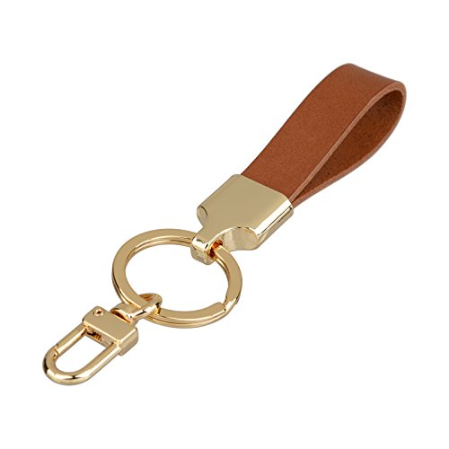 Richbud Full Grain Leather Gold Key Ring Lobster Swivel Keychain Fob (Tan)