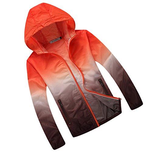 Generic Veste de Sport Femme Homme Capuche Anti-UV Impermeable Séchage Rapide Léger Coloré - Orange et Brun, XL