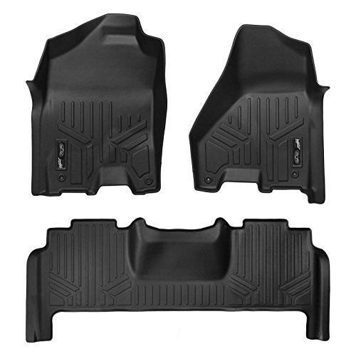 MAXLINER Floor Mats 2 Row Liner Set Black for 2012-2018 RAM 2500/3500 Mega Cab W/Dual Front Hooks