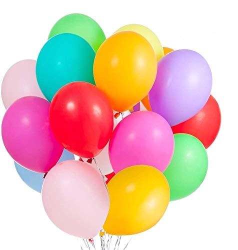 JOJOR 100 Piezas Multicolores Globos, Coloridos Globos de Látex para Bodas, Fiestas de Cumpleaños y Decoración