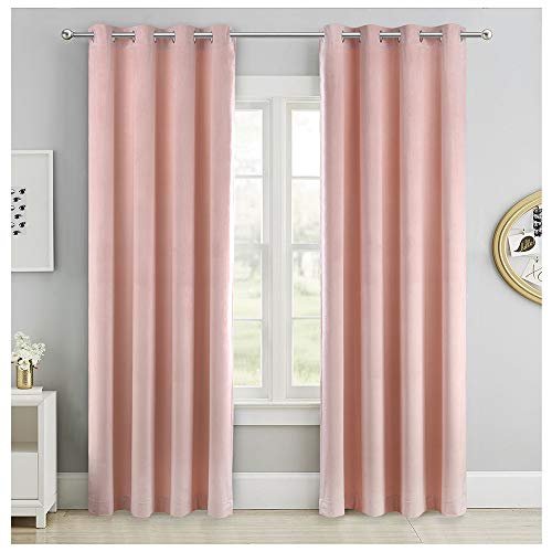 SINGINGLORY Pink Velvet Curtains 52 x 84 Inch, Blackout Thermal Insulated Grommet Window Curtain 2 Panels Set for Bedroom and Living Room (W52 xL84, Blush Pink)