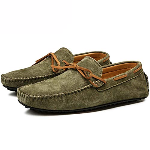 Casual Men Genuine Leather Shoes Summer Breathable Green Men's Loafers Leather Shoes Sapato Masculino Zapatos Hombre 01 Mo Green 7