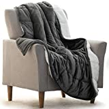 """REEPOW Sherpa Weighted Blanket 12 lbs for Adults Twin/Full Size Bed, Plush Fleece Heavy Blankets with Premium Ceramic Beads (Grey, 48"""" x 72"""")"""