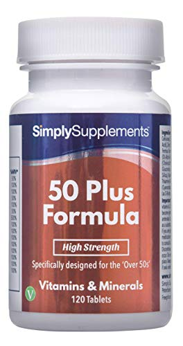 50 Plus Formula | Essential Vitamins for Over 50's | 120 Tablets | Vegetarian Friendly | Manufactured in The UK