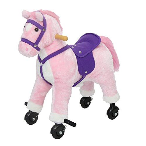 Peach Tree Kids Plush Toy Rocking Horse Walking Toddler Riding Toy Animal Rocker Pink Pony Ride on Plush with Wheels & Sound, Pink