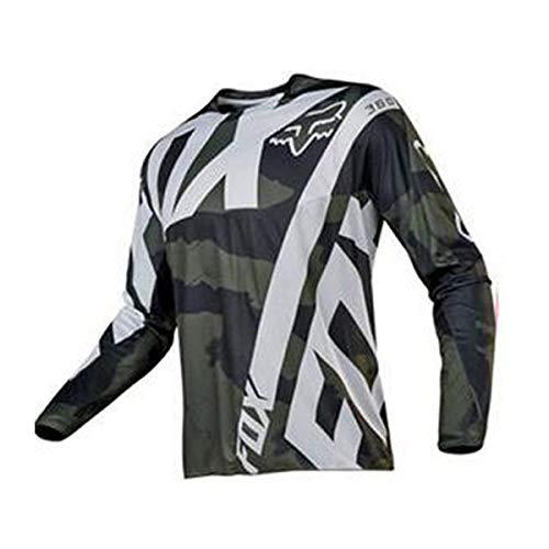 Herren Langarm Radtrikot Mit Elastische Atmungsaktive Schnell Trocknen Stoff Fahrradtrikot Fahrradshirts Fahrradbekleidung (E-05,M)