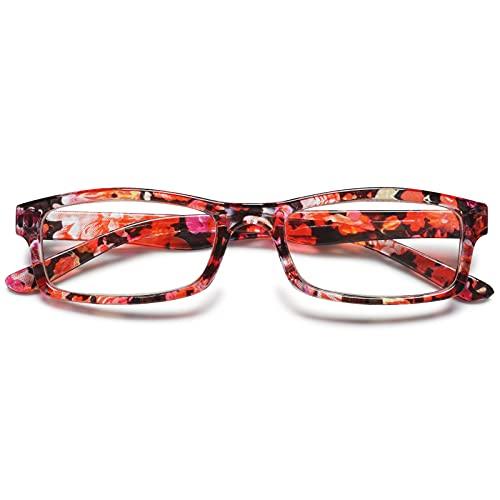 KOOSUFA Gafas de Lectura Mujer Diseño Retro con Flores Ayuda de Lectura, Gafas de Visión Completa, Gafas de Trabajo Antifatiga 1.0 1.5 2.0 2.5 3.0 3.5 4.0 (1x Rojo, 2.0)