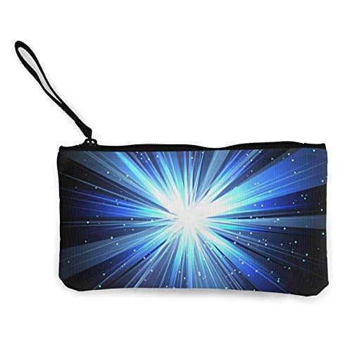 Star with Rays White Blue In Space Isolated and Women Canvas Coin Purse Unisex 3D Print Pattern Coin Wallets for Men and Women
