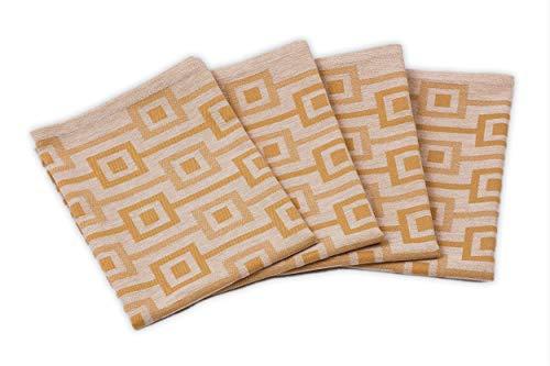 myHomery Geschirrhandtücher - 4er Set Handtücher 100% Baumwolle - Dobby-Design - Trockentuch für Küche & Gastronomie - Küchenhandtücher modern- Senf 4er Set 50x70