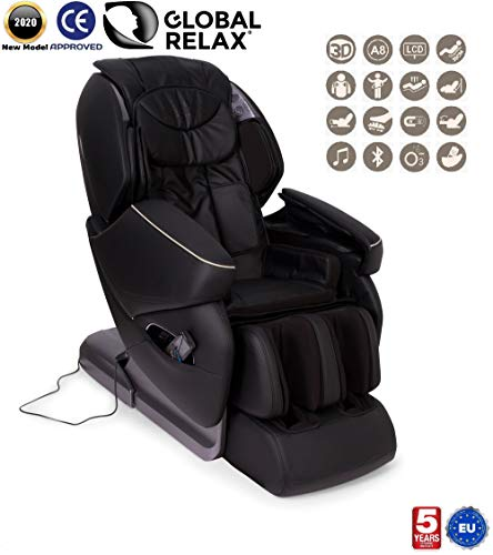 NIRVANA® 3D massagestoel - Zwart (model 2020) - Relax massagestoel voor shiatsu met 9 massageprogramma's - Gravity and Wall