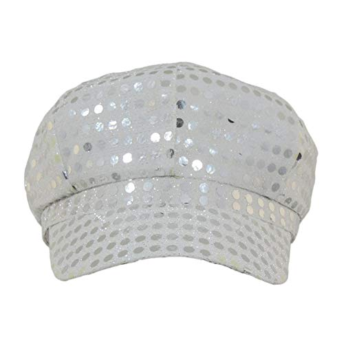 Windy City Novelties Ladies or Girls Silver Disco Paperboy Sequin Newsboy Hat
