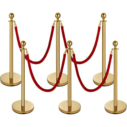 Mophorn 6PCS Gold Stanchion Post, 4 Red Velvet Ropes Queue Rope Barriers, 38In Crowd Control Barrier Queue Line, Crowd Control Poles, for The Ceremony, Museums