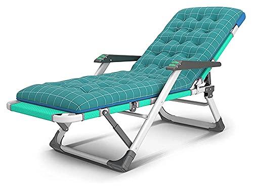 ZOUJIANGTAO Sedie a Sdraio e poltrone reclinabili Sdraio con Cuscino Sedia Verde Regolabile Arredamento per Esterni Letto Pieghevole (Color : Green, Size : 178x67x33cm)