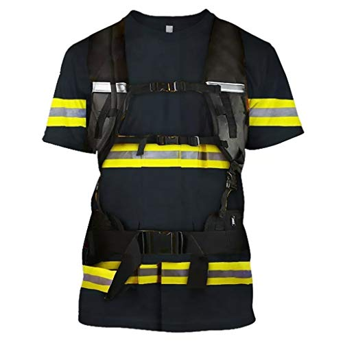 DNOQN Herren Beiläufig 3D Feuerwehrmann Stil Drucken O-Ausschnitt Kurzarm Bluse Top T-Shirt