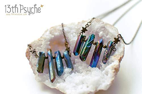 Rohe Kristall Halskette, böhmischen Schmuck, natürlicher Schmuck, Angel Aura Quarz, Titan Rohquarz Schmuck, inspirierende Geschenk für Frauen
