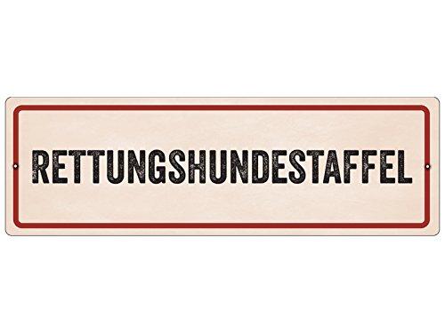 Interluxe Kunststoffschild mit Saugnapf RETTUNGSHUNDESTAFFEL Autoschild Warnschild Hund