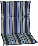 Beo Gartenstuhlauflage Sitzkissen Polster Stuhlkissen für Niederlehner Streifen hellblau blau grau