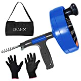 Drainx Pro 35-FT Steel Drum Auger Plumbing Snake | Drain Cleaning Cable with Work Gloves and Storage Bag