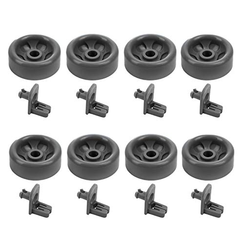 WD12X10136 & WD12X10277 (8-Pack) Lower Dishrack Roller & Axle Kit for GE Dishwashers by PartsBroz - Replaces WD35X21041, AP5986366, WD12X10277, PS11725221, WD12X10107, WD12X10126, WD12X10261