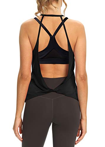 Mippo Summer Workout Tops for Women Sexy Open Back Muscle Tank Yoga Tops Backless Shirts