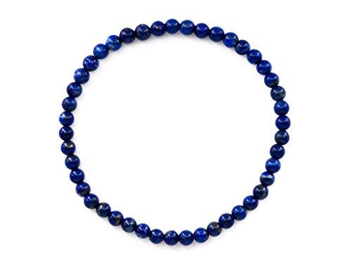 Taddart Minerals – Pulsera azul de piedra preciosa natural lapislázuli con bolas de 4 mm en hilo elástico de nailon – hecha a mano
