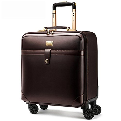 PINCHU 18 Zoll Designer Kleine Flug Koffer Luxus Trolley Cabin Bag Leichte Laptoptasche Auf Rädern, Brown