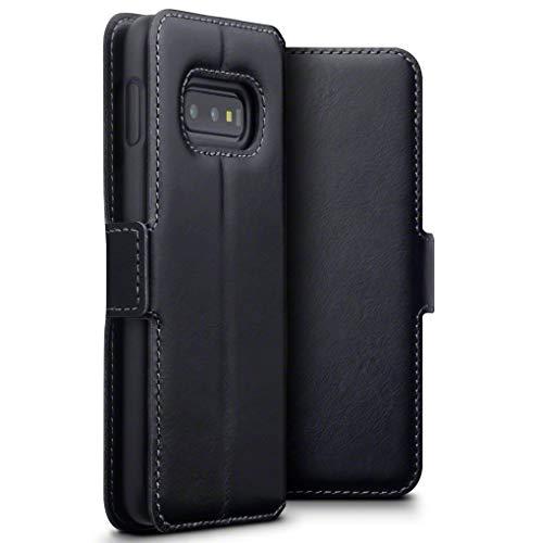 TERRAPIN, Kompatibel mit Samsung Galaxy S10e Hülle, Premium ECHT Spaltleder Flip Handyhülle Galaxy S10e Tasche Schutzhülle - Schwarz EINWEG