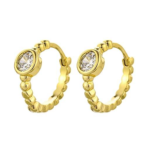 DFDLNL Pendientes de aro pequeños para Mujer y Hombre, Regalo de San Valentín, Color Dorado