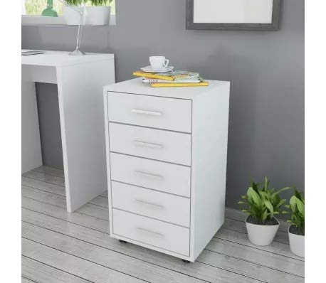 Cajonera para oficina con ruedas, 5 cajones, cajonera armario portadocumentos de madera, cajonera mueble blanco, 33 x 38 x 63 cm