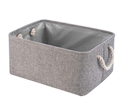 Perber Storage BasketsDecorative Collapsible Rectangular Linen Fabric Storage BinUnderwearTieBrasSocksCloset and Dresser Organizer- Grey Small