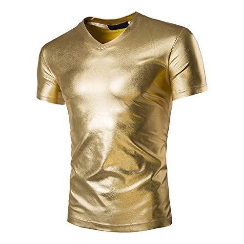 Camiseta Hombre Verano Color Sólido Cuello En V Manga Corta Club Nocturno Shirt Ocio Fiesta Calle Delgado Elástico Casual Hombre Tshirt C-Golden XXL