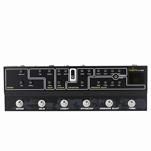 Caline C-300 Multi Effects Pedal with Reverb Delay Chorus Distortion Boost and Tuner