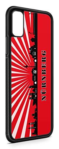 aina Kompatibel mit iPhone XR Silikon Handyhülle Flexibles Slim Case Cover Nürnberg Skyline Motiv Bild Schwarz