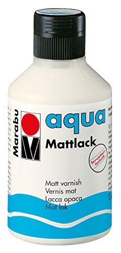 Marabu 11360013000 - Farbloser aqua Mattlack, transparent - matter Acryl - Lack auf Wasserbasis, für Hobby und Freizeit, zum Lackieren vieler Bastelarbeiten und Materialien, 250 ml Flasche