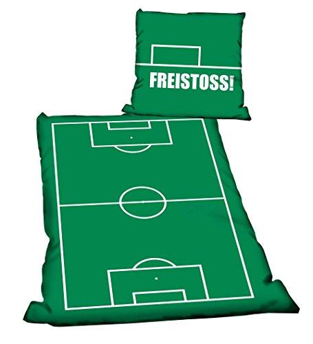 FREISTOSS Fanartikel Bettwäsche Linon für Fussballfans mit Reißverschluss