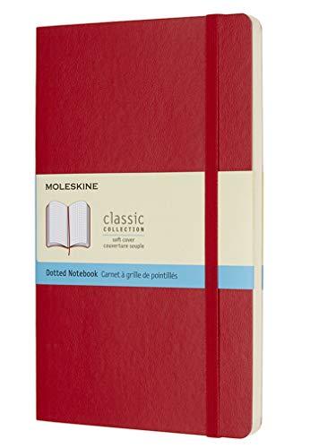 Moleskine Classic Notebook, Taccuino con Pagine Puntinate, Copertina Morbida e Chiusura ad Elastico, Formato Large 13 x 21 cm, Colore Rosso Scarlatto, 192 Pagine