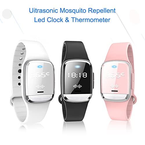 hmjsmj Reloj Digital Led Pulsera Repelente De Mosquitos Ultrasónico, con Función De Detección De Temperatura, Reloj Anti-Mosquitos para Niños Y Adultos, Carga USB, 3 Piezas, 45x60x100mm