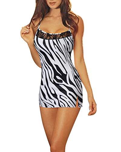 ZANZEA Mujeres Conjunto Lencería Encaje Sexy Pijama Vestido Correa Stretch Bodycon Mini Camisón con G-Secuencia 02-Cebra 3XL
